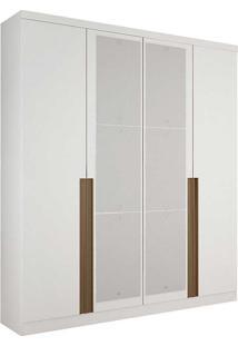 Guarda-Roupa Solteiro Com Espelho 4 Portas Morfeu-Novo Horizonte - Branco