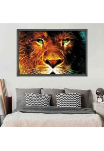 Quadro Love Decor Com Moldura Leão Grafitti Metalizado Grande
