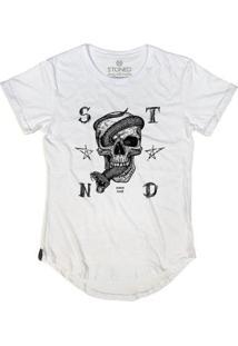 Camiseta Longline Stoned Snake Skull Masculina - Masculino-Branco