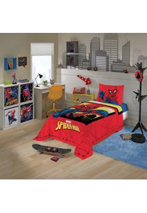 Jogo De Cama Solteiro Infantil Lepper Spider Man 3 Peças Vermelho