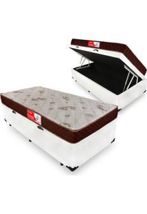 Cama Box Com Ba㺠Solteiro + Colchã£O De Molas - Prorelax - Cristal 88X188X60Cm Branco - Branco/Cinza/Marrom/Preto - Dafiti