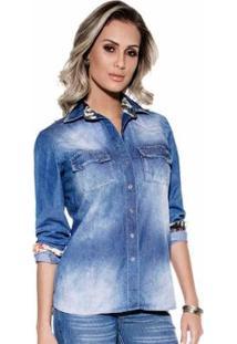 Camisa Detalhe Floral Feminina - Feminino-Azul