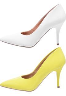 Kit 2 Pares Scarpin Ellas Online Branco/Amarelo