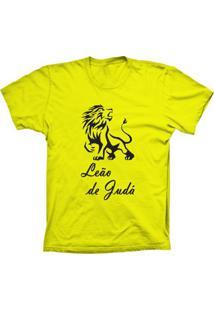 Camiseta Lu Geek Manga Curta Leão De Judá Amarelo