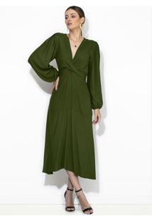 Vestido Midi De Crepe Verde