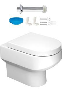 Kit Bacia Convencional Com Assento Carrara Branca + Conjunto De Fixação, Flexível E Anel De Vedação - Kp.60.17 - Deca - Deca