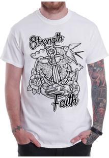 Camiseta Hypnotic - Âncora Strength & Faith - Branca