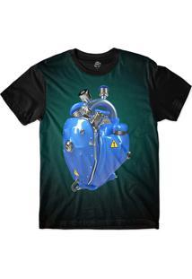 Camiseta Bsc Coração De Máquina Motor Azul Sublimada Azul