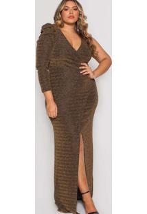 Vestido Almaria Plus Size Pianeta Longo Lurex Dour