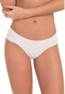 Calcinha Conforto Em Microfibra Drapeada Com Proteção Permanente - Feminino-Branco