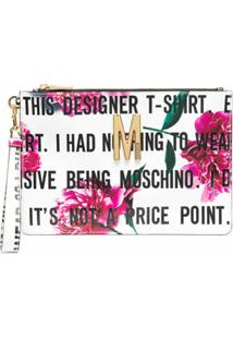 Moschino Clutch Com Estampa Floral E Slogan - Branco