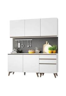 Cozinha Compacta Madesa Reims Com Balcão - 5 Portas 3 Gavetas Branco