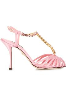 Dolce & Gabbana Sandália Com Aplicações De Cristais - Rosa