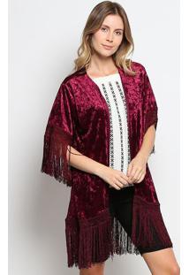 Kimono Aveludado Com Franjas- Vinho- Gup'S Jeansgup'S Jeans
