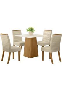 Sala De Jantar Mesa Dora 90Cm Com 4 Cadeiras Vega Nature/Off White/Lin