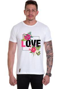 Camiseta Lucas Lunny T Shirt Gola Redonda Love Flores Branca