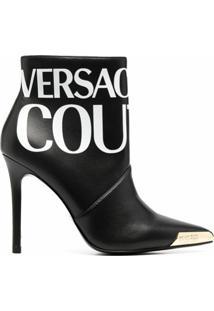 Versace Jeans Couture Bota Com Estampa De Logo E Bico Metálico - Preto