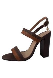 Sandália Couro Sapatos E Botas Salto Alto Bloco Tira Dupla Café/Caramelo