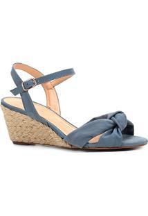 Sandália Anabela Shoestock Nobuck Nó Feminina - Feminino-Azul