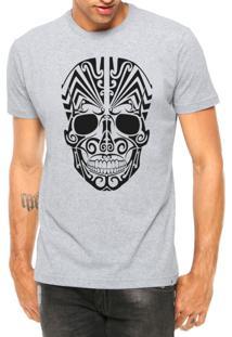 Camiseta Criativa Urbana Caveira Mexicana Tribal Cinza Mescla Manga Curta