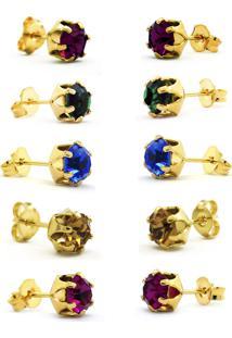 Conjunto 5 Brincos Horus Import Ponto De Luz Banhado Ouro Amarelo 18K - Kit10570 - Dourado