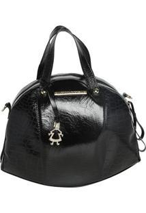Bolsa Em Couro Com Bag Charm - Preta- 25X32X6,5Cm Di Marlys