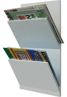 Revisteiro De Parede Duplo Branco 50X30X11Cm