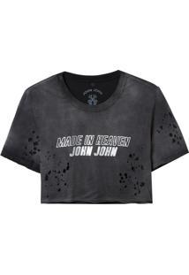 Camiseta John John Jj Refletivo Malha Algodão Preto Feminina (Preto, G)