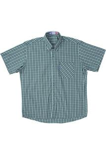 Camisa Manga Curta Xadrez Rodeo Western Masculina - Masculino-Verde