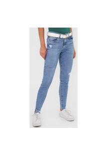 Calça Jeans Malwee Skinny Destroyed Azul
