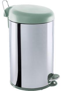Lixeira Brinox Inox Com Pedal E Tampa Plástica Menta Verde/Prata