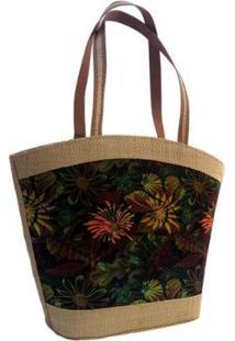 Bolsa Em Palha Artestore Com Estampa Floral - Feminino-Verde+Marrom