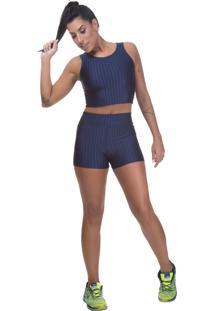 Shorts Fitness Miss Blessed Cirre 3D Azul Marinho