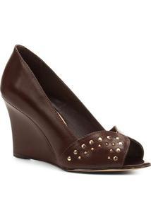 Peep Toe Shoestock Anabela Tachas - Feminino