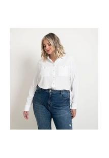 Camisa Alongada Em Crepe Com Mangas Longas E Botões Metalizados Curve & Plus Size | Ashua Curve E Plus Size | Branco | 46