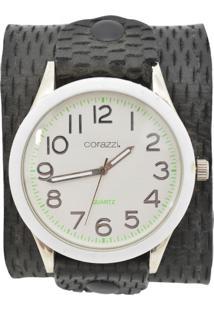 Relógio Corazzi Leather Deluxe Bracelete Snake Preto