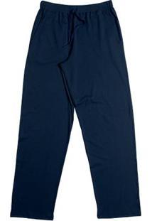Calça Suedine Com Bolso Azul Marinho P