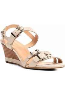 Sandália Anabela Couro Shoestock Fivelas Feminina - Feminino-Off White