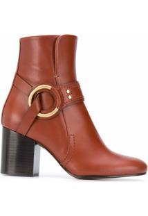 Chloé Ankle Boot Com Detalhe De Anel - Marrom
