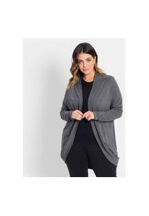 Cardigan Plus Size Feminino Secret Glam Cinza