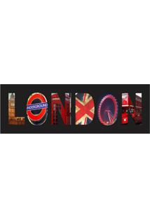 Placa Decorativa London 10X30 Cm Preto