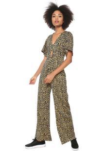 Macacão Fiveblu Pantalona Onça Amarelo/Preto