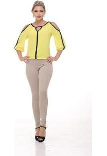Blusa Clara Arruda Manga Longa Bicolor 20368 - Feminino-Amarelo