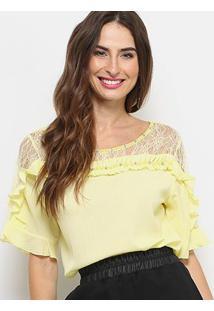Blusa Lily Fashion Renda Babados Feminina - Feminino-Amarelo