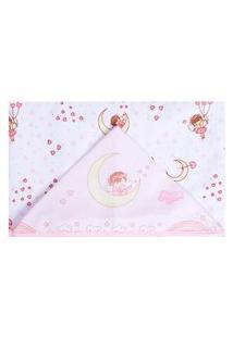 Toalha De Banho Papi Forrada Fadinha Branco E Rosa