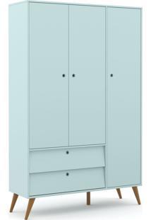 Roupeiro 3 Portas Gold Menta/Eco Wood Matic Mã³Veis Azul - Azul - Dafiti
