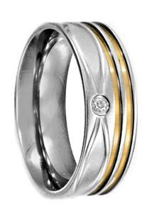 Aliança De Aço C/ Zircônia E Filete De Ouro (Unidade)-30 - Unissex-Prata