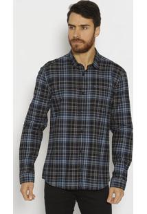 Camisa Slim Fit Com Bolso - Preta & Azulcalvin Klein
