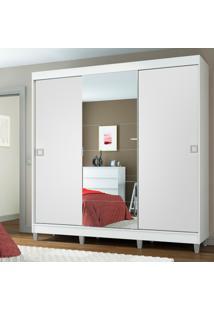 Guarda-Roupa Casal Madesa Veneza 3 Portas De Correr Central Com Espelho Com Pã©S Branco - Branco - Dafiti