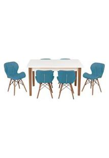 Conjunto Mesa De Jantar Luiza 135Cm Branca Com 6 Cadeiras Slim - Turquesa